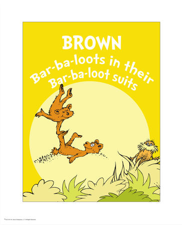 Brown Barbaloots, the Lorax, artwork by Dr. Seuss