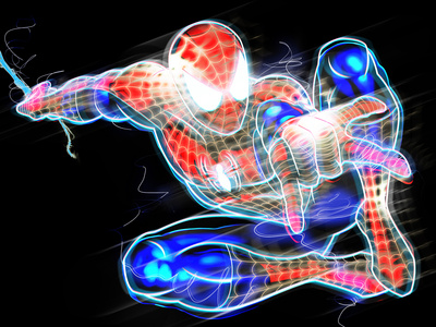 Spider-Man Pop Art Neon Badge of Spider-Man Posing Artwork