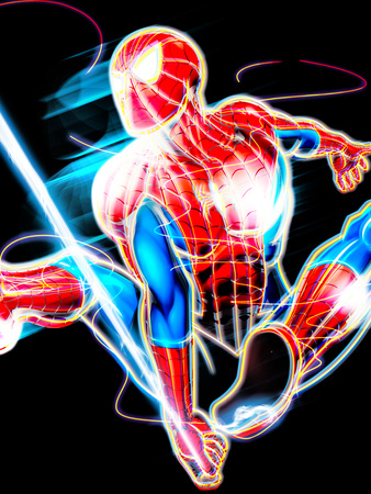 Spider-Man Pop Art Neon Badge of Spider-Man Swinging Poster Artwork