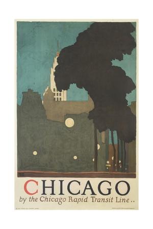 Chicago by the Chicago Rapid Transit Line Gicléetryck av Ervine Metzl