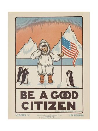 1938 Character Culture Citizenship Guide Poster, Be a Good Citizen Gicléetryck