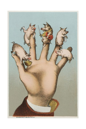 Five Pigs on Five Fingers Giclee Print