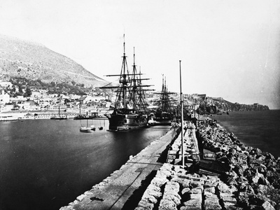 English Ironclad Warships at Gibraltar Photographic Print