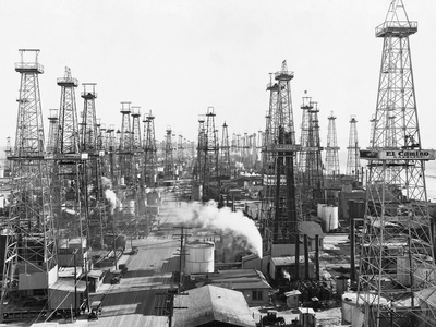 Oil Derricks in California Stampa fotografica