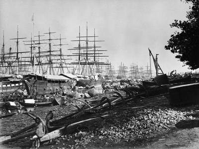 Sailing Ships Docked at Calcutta Photographic Print