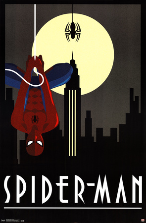 Spider-man Art Deco poster vintage artwork style