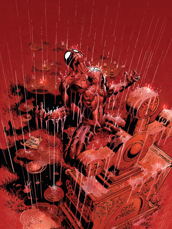Amazing Spider-Man No. 525 Cover Art of Spider-Man in front of Ben Parker cemetery while raining artwork