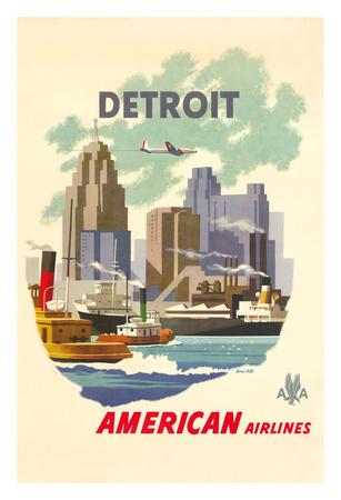 Detroit Michegan - American Airlines - Detroit Skyline Giclee Print by Bern Hill
