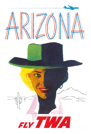 Arizona - Trans World Airlines Fly TWA - Cowgirl Giclee Print by Austin Briggs