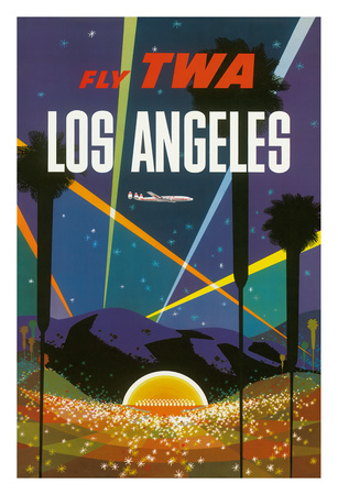 Los Angeles - Trans World Airlines Fly TWA - Hollywood Bowl Giclee Print