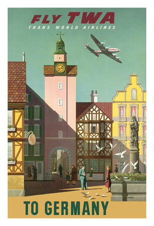 Germany - Fly TWA Trans World Airlines Giclee Print by S. Greco