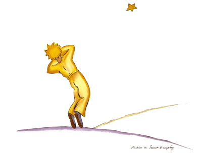 Little Prince yawning (lg) Collectable Print by Antoine de Saint-Exupéry