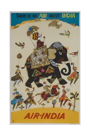 Air India Travel Poster, There Is an Air About India Giclée-Druck