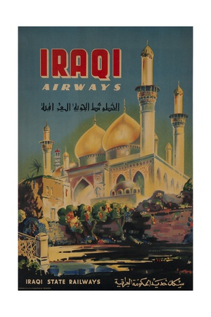 Iraqi Airways Travel Poster, Middle Eastern Mosque Giclee Print