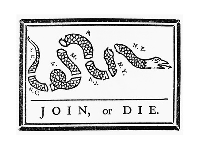 Join, or Die Political Cartoon Giclee Print by Benjamin Franklin