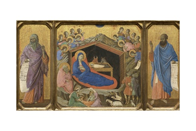 Nativity with the Prophets Isaiah and Ezekiel Giclee Print by  Duccio di Buoninsegna
