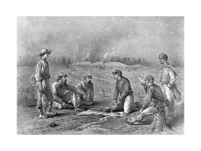 Pickets Trading Between the Lines Designed Giclee Print by Edwin Forbes