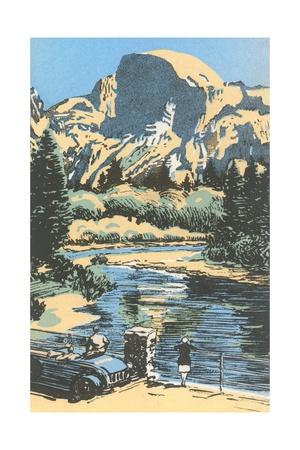 Scenic Vista Woodcut Giclee Print