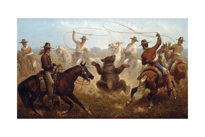 Cowboys Roping a Bear Giclee Print by James Walker