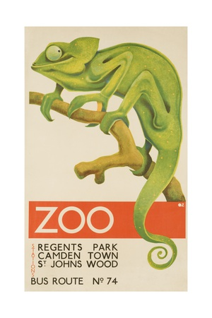 Zoo, Iguana London Bus Route No. 74 Advertising Poster Giclee Print
