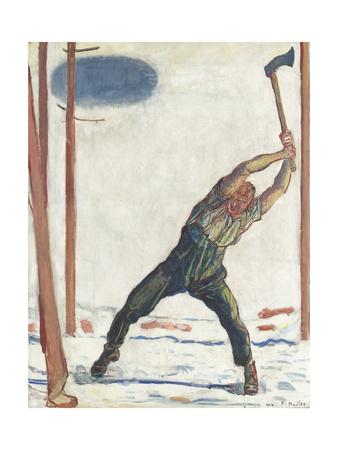 The Woodcutter Gicléetryck av Ferdinand Hodler