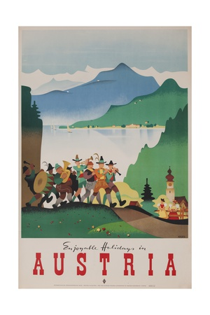 Romantic Holiday in Austria Travel Poster Giclee Print