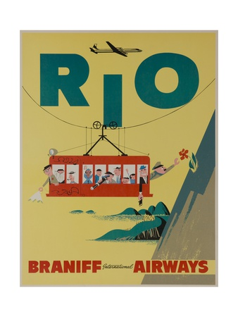 Braniff International Airways Travel Poster, Rio De Janiero Cable Car Giclee Print