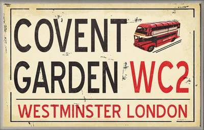 Covent Garden WC2 Railroad Wall Plaque Wood Sign