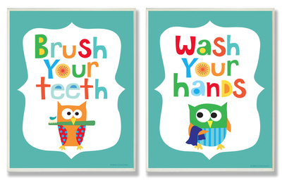 Boys bathroom wall decor duo art print artwork