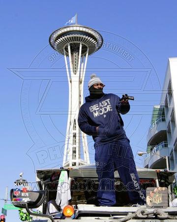 Marshawn Lynch Seattle Seahawks Super Bowl XLVIII Victory Parade Photo