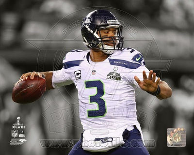 NFL Seattle Seahawks Russell Wilson Super Bowl XLVIII Spotlight Action Photo