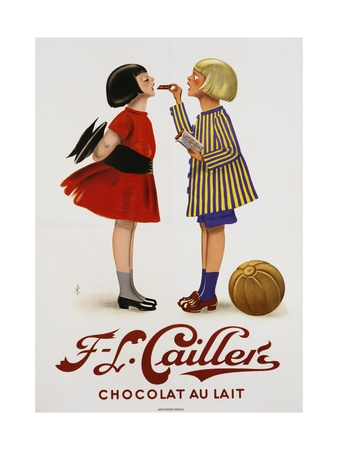 F-L Cailler's Chocolat Au Lait Chocolate Advertisement Poster Giclee Print