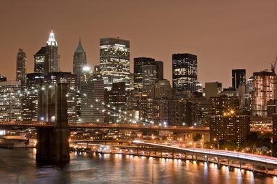 Brooklyn Bridge and Manhattan Skyline, New York City Photographic Print by Paul Souders