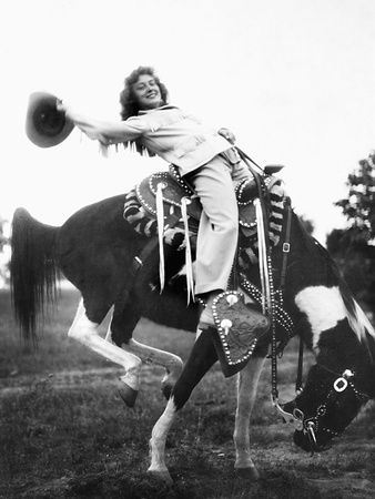 Young Woman on Phony Pony, Ca. 1940 Photographic Print