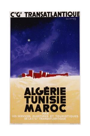Algerie - Tunisie - Maroc Travel Poster Giclée-tryk af Jan Auvigne