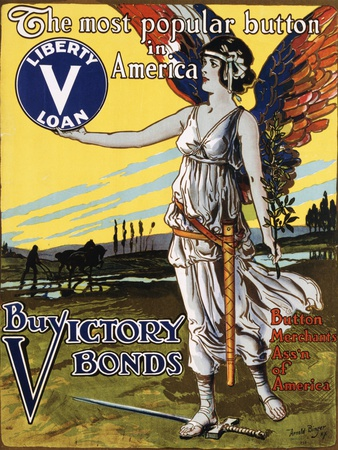 The Most Popular Button in America - Buy Victory Bonds Poster Photographic Print by Arnold Binger