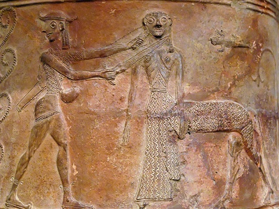 Detail of Cycladic Terracotta Relief of Perseus Killing Medusa Photographic Print