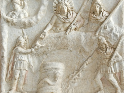 Roman Relief of Mithras, Selene, Cautes and Cautopates Photographic Print