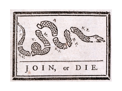 Join or Die Political Cartoon Giclee Print by Benjamin Franklin
