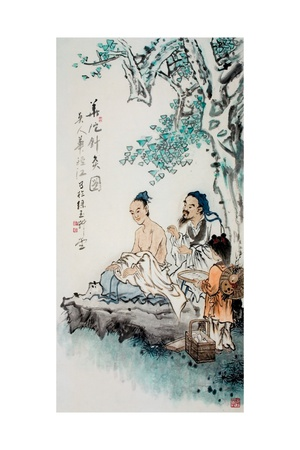 Hua Tuo Practising Acupuncture to Anaesthetise Patient Giclée-Druck
