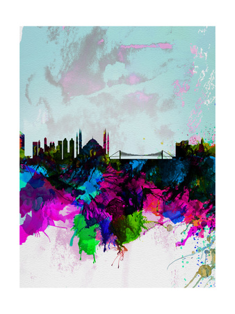 Istanbul Watercolor Skyline Art by  NaxArt
