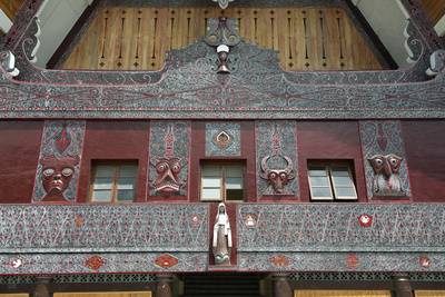 Ornate Traditional Batak Painted Carvings on Large Batak Style Catholic Church Photographic Print by Annie Owen
