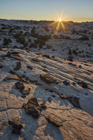 Sunrise Above Navajo Sandstone and Lava Chunks Photographic Print by James Hager