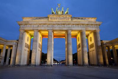Brandenburg Gate at Night, Berlin, Germany, Europe Photographic Print by Miles Ertman