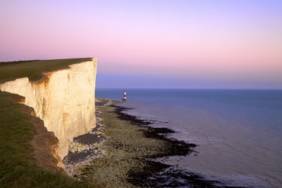 Beachy Head and Beachy Head Lighthouse at Sunset, East Sussex, England, United Kingdom, Europe Photographic Print by Neil Farrin