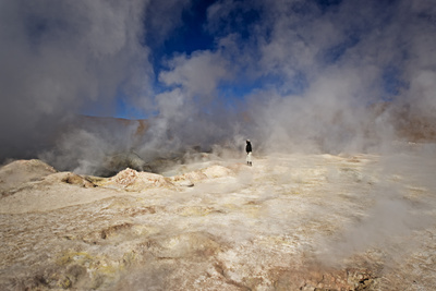 The Sol De Manana Geysers, a Geothermal Field at a Height of 5000 Metres, Bolivia, South America Photographic Print by James Morgan