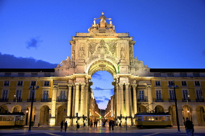 Triumphal Arch at Dusk, Lisbon, Portugal, South West Europe Photographic Print by Neil Farrin