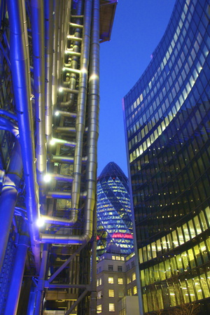 Lloyds Building and the Gherkin, London, England, United Kingdom, Europe Photographic Print by Neil Farrin