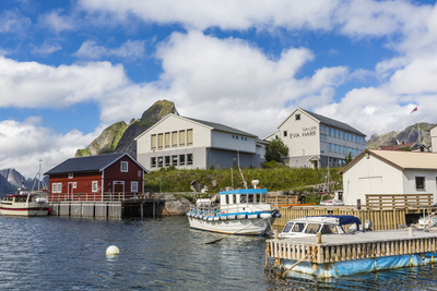 Norwegian Cod Fishing Town of Reine, Lofoton Islands, Norway, Scandinavia, Europe Photographic Print by Michael Nolan