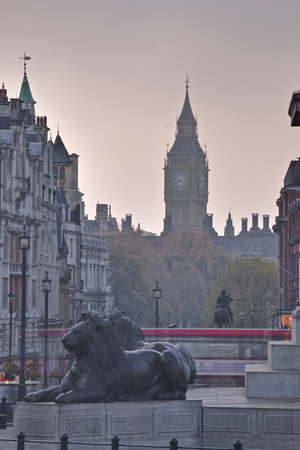Trafalgar Square and Big Ben at Dawn, London, England, United Kingdom, Europe Photographic Print by Julian Elliott